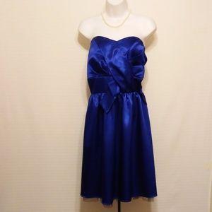 SAPPHIRE BLUE STRAPLESS PARTY DRESS